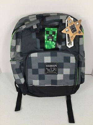 Minecraft Kids Backpack Brand New Gray & Green