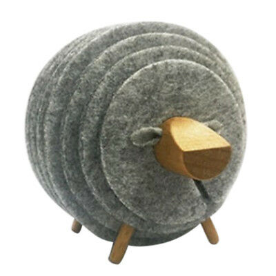 Sheep Shape Anti Slip Cup Pads Coasters Insulated Round Felt Cup Mats Japan W7Q9