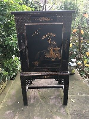 19th century chinoiserie ebonised gilded  bedside cupboard cabinet VGC Original