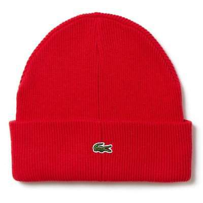 e50ab917afc RB9423 51 938Men s Lacoste Ribbed Wool Turned Edge Beanie!! RED BLACK