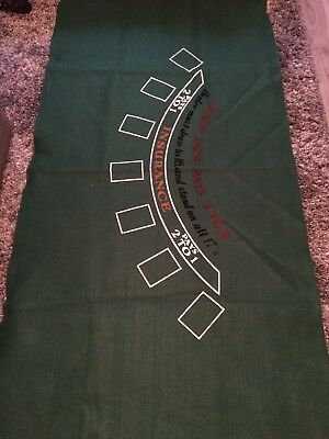 Blackjack Poker Layout Table Top Mat Pad Cover Casino Card Game Green Felt