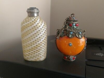 Vintage Perfume Bottles - Art Glass & Silver & Brass with Blue & Red Stones
