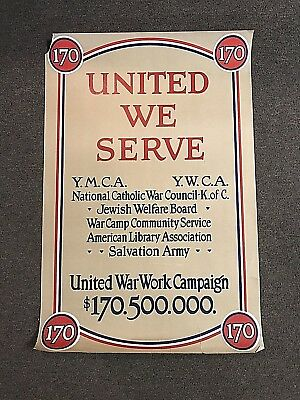 Original WWI United War Work Campaign Poster