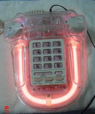 Lucite Neon Pink Light Up Phone Pushbutton   *Cool*