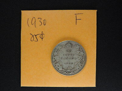 1930 25 Cent Coin Canada King George V Twenty Five Cents .800 Silver F Grade
