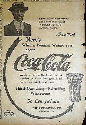 Rare 1913 Connie Mack World Series Athletics Coca Cola Arrow Newspaper Ad