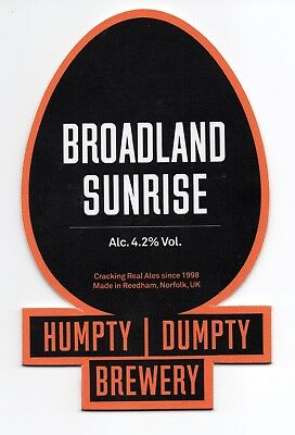 Beer pump clip front. Humpty Dumpty Brewery, BROADLAND SUNRISE