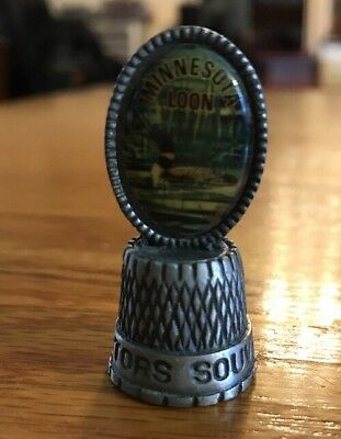 Vintage Pewter Minnesota Loon Collectors Thimble