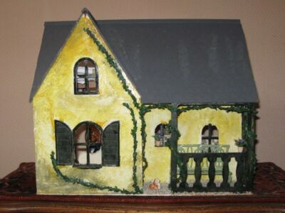 European Handmade OOAK Wooden Doll House with Miniature Accessories & Furniture