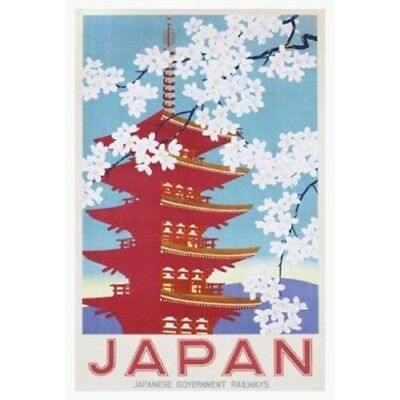 FRAMED Vintage JAPAN (Blossoms)  Railways 36x24 Art Print Poster WHITE