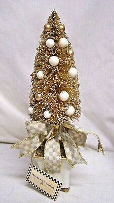 """MACKENZIE CHILDS Parchment Bottle Brush Tree Mini Christmas With Tag 12"""" Tall"""