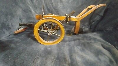 "Vintage Folk Art Hand Made Oxen/Horse Drawn Farm Plow Very Nice!! 17"" Long"