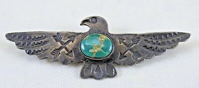 Nice Old Fred Harvey Era Navajo Stamped Thunderbird Pin, Silver & Turquoise