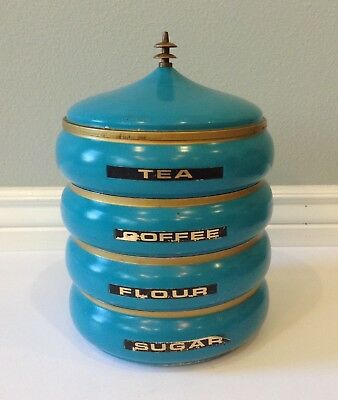 Mid Century 1950's Retro Deco Guild Turquoise Stackable Metal Canister Set