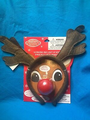 Do Rudolph The Red Nose Reindeer Light Up Flashing Nose And Antler Headband