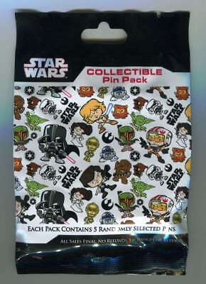 Disney Parks Star Wars Mystery Trading Pins Bag 5 Pin Pack New Sealed