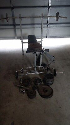 Bench press with weights and barbell