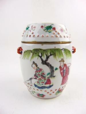 Rare Antique Chinese Famille Rose Figural Drum Shaped Teapot, 19th Century