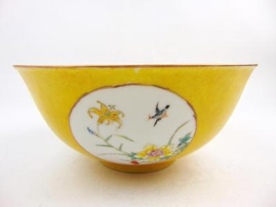 19cm Antique Chinese Famille Rose Sgraffito Yellow  Bowl, Qianlong Mark,Republic