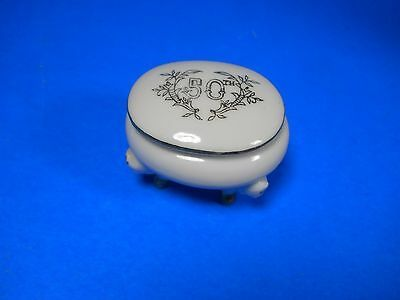 Lefton China hand painted 50th Trinket box 3 legs porcelain white, gold #4902