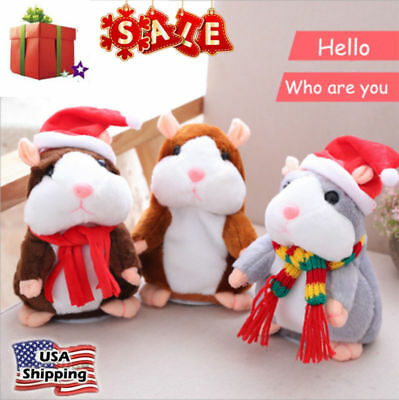 Talking Hamster Mouse Pet PlushToy Learn To Speak Electric Record kid Xmas Gift