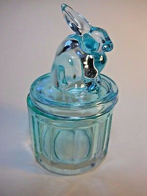 "Aqua Blue Glass Rabbit Bunny Container Jar  Candy Dish lidded round 6"" tall"