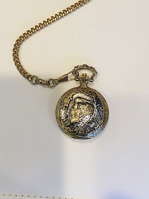 Pocket Watch Antique Silver Gold Madison Mathey-Tissot Train
