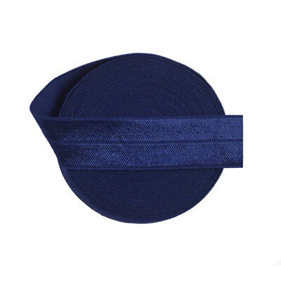 "5 Yard Navy 3/4"" 20mm Fold Over Elastic FOE Spandex Satin Band Dress Sewing Trim"