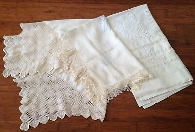 Three antique linen table cloths hand embroidered