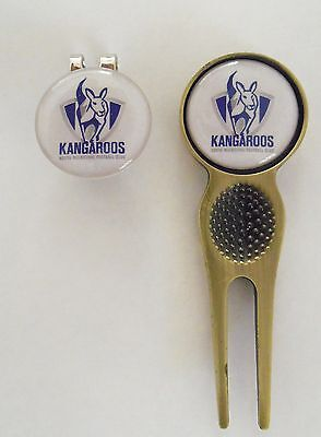 2 Only North Melbourne Kangaroos Golf Ball Markers, A  Divot Tool &  Hat Clip