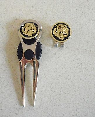 2 only GOLDEN TIGERS  GOLF BALL MARKERS WITH NICE  DIVOT TOOL & HAT CLIP SET