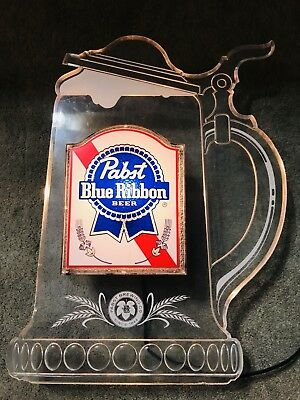 Vintage Pabst Blue Ribbon Illuminated Stein Display Beer Lighted Sign