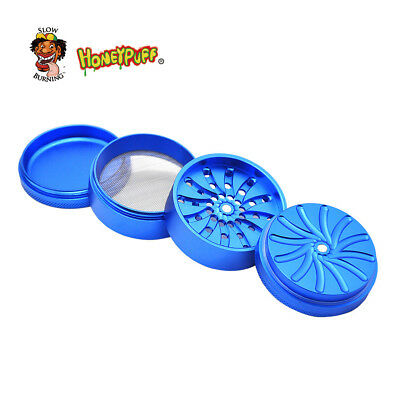 HONEYPUFF Herb Grinder Groove Teeth 63 MM 4Layers Snuff Snorter -Blue cnm63