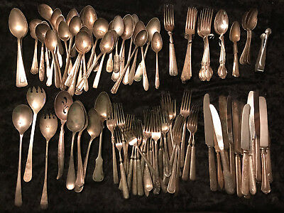 Silverware Lot Silver Plate Vintage & Antique 100 Pieces