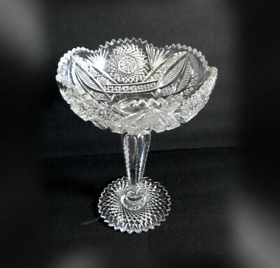 Vintage heavy brilliant clear crystal compote with sawtooth rim and foot