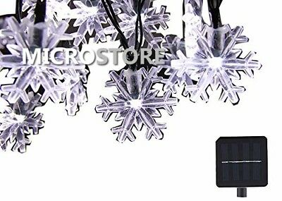 Solar String Lights 20 ft 30 LED Snowflake Waterproof Christmas Fairy Lights