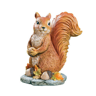 Sylvester Squirrel Garden Statue with Acorns, Fall Outdoor or Indoor Décor