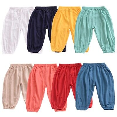 Toddler Kids Baby Boys Girls Soild Anti-Mosquito Casual Long Pants Trousers 1-6Y