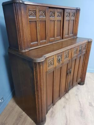Vintage Oak Court Cupboard Old Buffet Sideboard Dresser Priory Style