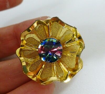 Vintage gold plate mesh iris glass diamante tudor rose diamante brooch