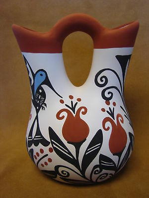 Native American Acoma Indian Pottery Hand Painted Wedding Vase by K. Joe PT0072