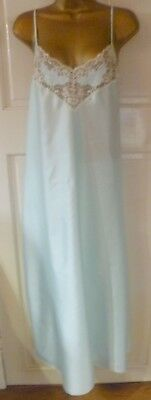 Vintage Gorgeous Lt Turquoise Silky Glossy Nightdress Beautiful Lace Size 14-18