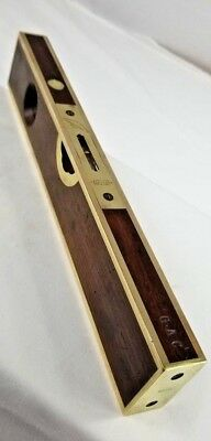 """12"""" Wood and Brass Stratton & Bros Level and Plumb BEYOND BEAUTIFUL pat 1872"""