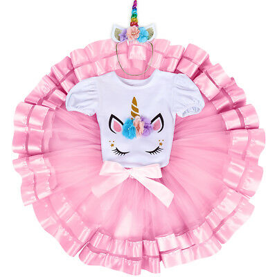 Baby Girls Unicorn Costume 1st Birthday Outfits Cake Smash Party Dress for Photo