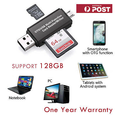 Micro USB OTG to USB 2.0 Adapter TF SD Card Reader for Mobile Tablets Laptops PC