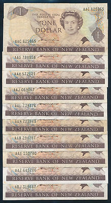 """New Zealand: 1981 $1 Hardie QEII """"COLLN 40 DIFFERENT PREFIXES"""". P169a F to EF"""
