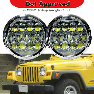 2pc 7 inch Round LED Headlights DRL Chrome Lights Fits 1997-2017 Jeep Wrangler
