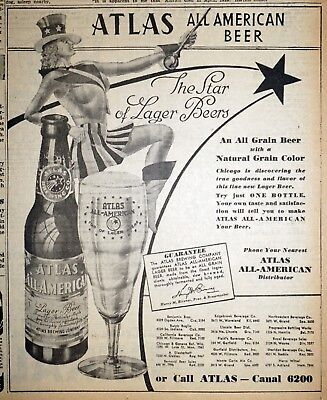 Atlas All American Beer Ad - 1940 Chicago Newspaper Page