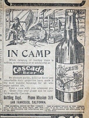 Cascade Beer Ad - 1905 San Francisco Newspaper Page