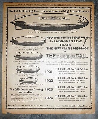 San Francisco Call and Post Ad Campaign Zeppelin - 1925 Newspaper Page